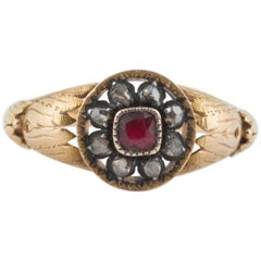 Rare Russian Diamond Gold Men's Ring, circa 1870