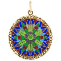 French Enameled Gold Pendant, 20th century