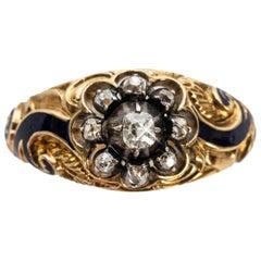 Rare Russian Enamel and Diamond Gold Men's Ring, Period of Nicholas I, 1855