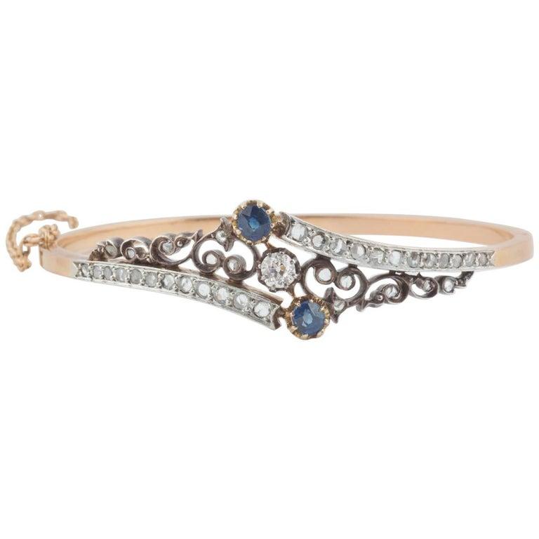 French Sapphire and Diamond Bracelet, 19th Century