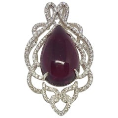 Top Quality 26.36 Carat Rubelite Pendant with  Diamonds in 18k White Gold
