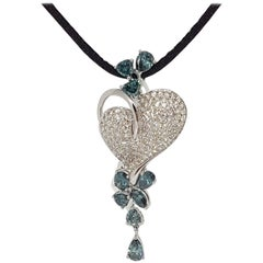 Blue Diamond Heart Necklace