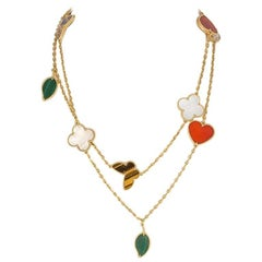 Multi-Color Motifs Yellow Gold Lucky Alhambra Long Necklace 12 Motifs