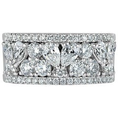 Mark Broumand 2.20ct Pear and Round Brilliant Cut Diamond Ring in 18k White Gold