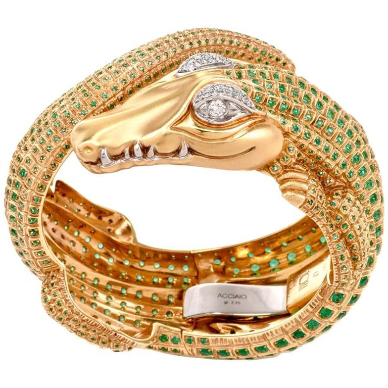 Modern Emerald Diamond Green Gold Alligator Bangle Bracelet