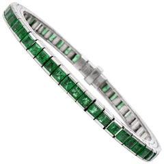 Vintage Emerald 18-Karat White Gold Linear Design Link Bracelet