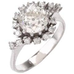 Vintage Old Mine Diamond Platinum Engagement Ring