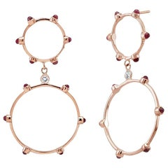 Rose Gold Large Circle Earrings Cabochon Ruby Diamond Accents