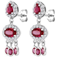 18k White Gold Ruby Halo Diamond Cluster Dangle Drop Earrings
