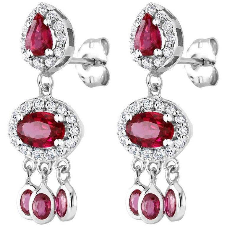 Ruby Halo Diamond Cluster Drop Dangle Earrings