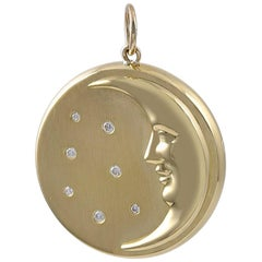 Man-in-the-Moon Gold and Diamond Pendant