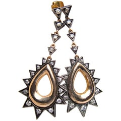 Silver and Rose Gold Diamond Spiky Teardrop Dangle Earrings, circa 1940