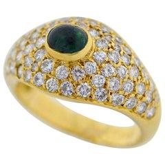 Van Cleef & Arpels 18 Karat Yellow Gold Pave Diamond Emerald Ring