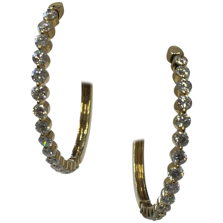 Diamond Hoops in 18 Karat Yellow Gold
