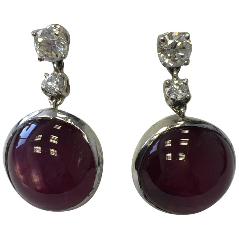 Estate Ruby and Diamond Earrings in Platinum