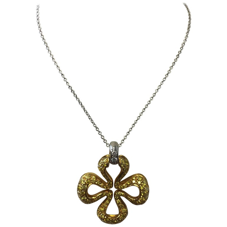Floral Yellow Diamond Pendant Necklace