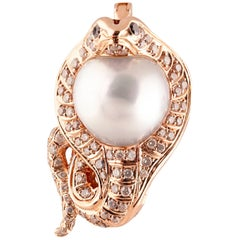 Buzzanca South Sea Pearl and Diamond Snake Pendent