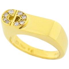Christian Dior Diamond 18 Karat Yellow Gold CD Logo Ring