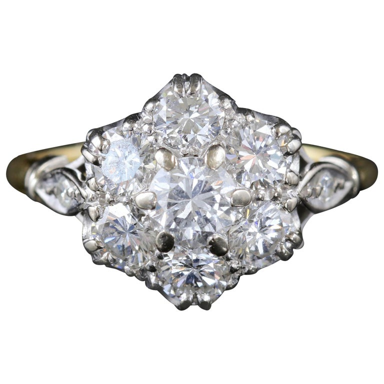 Antique Edwardian Diamond Cluster Ring 18 Carat Gold Platinum, circa 1915