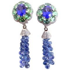 Fine Tansanites Turmalines Sapphires and Diamonds 18 Karat White Gold Earrings