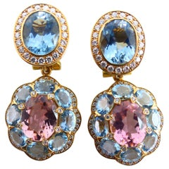 Fine Pink Tourmaline, Aquamarine and Diamond 18 Karat Rose Gold Earrings