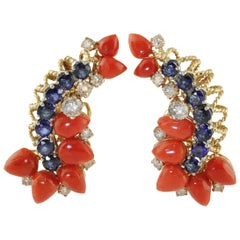Blue Sapphires,White Diamonds,Red Coral Drops,Rose White Gold Clip-on Earrings