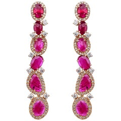 6.38 Carat Natural Mozambique Ruby and Diamond Dangle Earrings