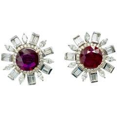 Natural Thai Ruby and Diamond Earrings