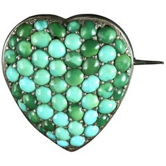 Antique Victorian Turquoise Heart Locket Silver Brooch, circa 1900