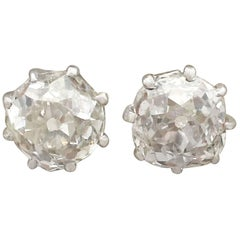 1900s Antique 1.78 Carat Diamond and White Gold Stud Earrings