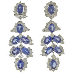 Diamonds Tanzanite White Gold Dangling Earrings