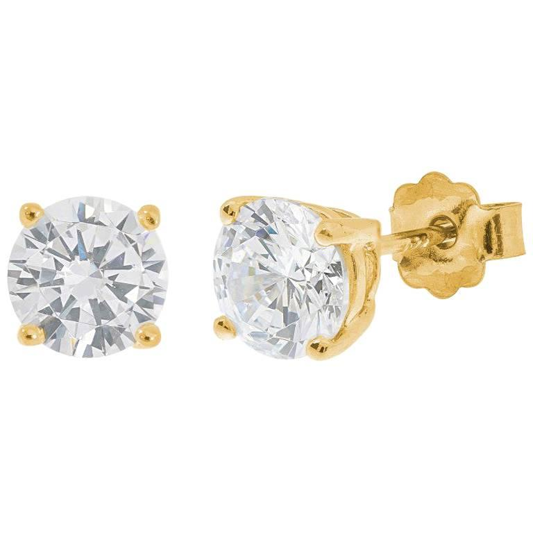 18 Carat Yellow Gold 1 Carat Diamond Solitaire Stud Earrings For Sale