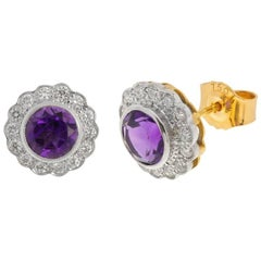 18 Carat Gold 2 Carat Amethyst and 0.42 Carat Diamond Cluster Stud Earrings