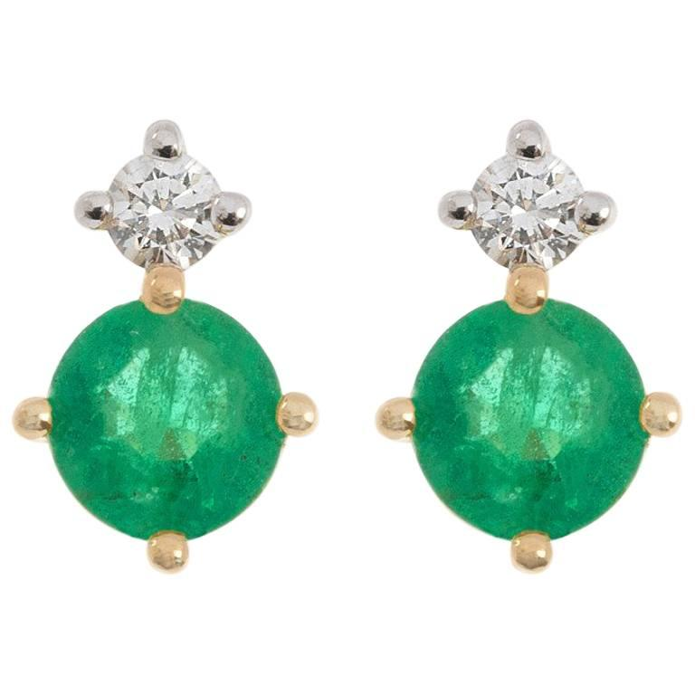 9 Carat Yellow Gold 0.30 Carat Emerald and 0.15 Carat Diamond Stud Earrings