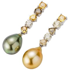 Fiji Cultured Pearl and Multi-Color Diamond Drop Earrings