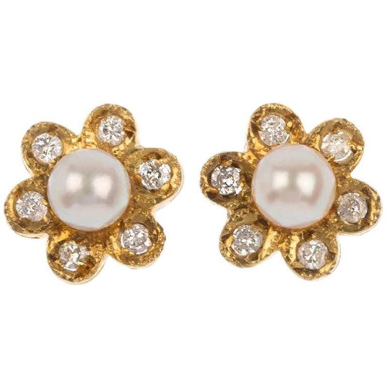 Vintage 1980s 9 Carat Yellow Gold Cultured Pearl and Diamond Stud Earrings