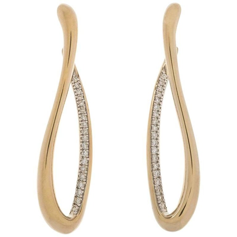 9 Carat Yellow Gold 0.20 Carat Diamond Drop Earrings