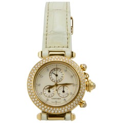 Cartier Yellow Gold Diamond Pasha Chronograph Quartz Wristwatch Ref 1354/1