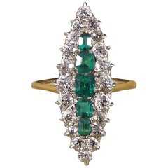 Late Victorian Emerald and Diamond Cluster Marquise Ring in 18 Carat Gold