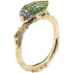 18k Yellow Gold Tsavorite Scarab Stackable Ring