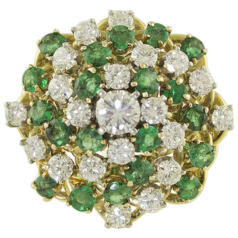 Emeralds White Diamonds Gold Cluster Ring