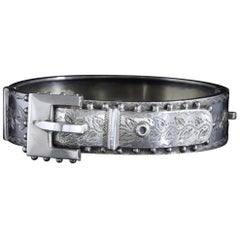 Antique Victorian Buckle Bangle Sterling Silver Dated Birmingham, 1888