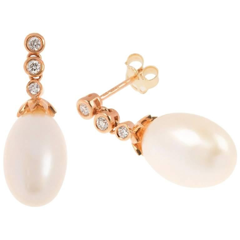 18 Carat Rose Gold Freshwater Pearl and Diamond Drop Earrings
