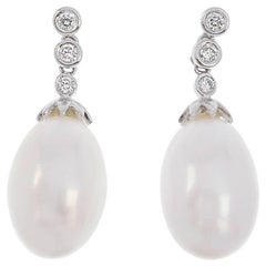 18 Carat White Gold Freshwater Pearl and Diamond Drop Earrings