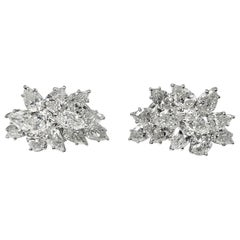 Diamond Cluster Earrings, 14.20 Carat