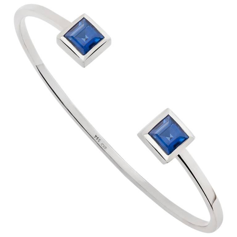 GIA Certified 2.4 Carat Blue Sapphires Bangle For Sale