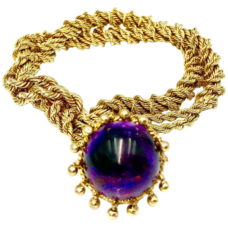 Amethyst and Gold Bracelet