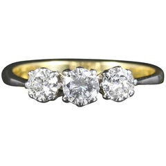 Antique Edwardian Diamond Ring Trilogy 18 Carat Plat, circa 1915