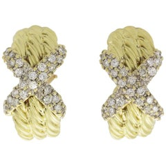 David Yurman 14 Karat Yellow Gold .72 Carat Diamond Cable Earrings