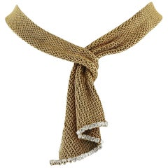 French Diamond Gold Mesh Scarf Necklace